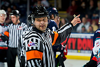 KELOWNA, BC - MARCH 7: Referee Chris Crich stands at the face-off between the Kelowna Rockets and the Lethbridge Hurricanes at Prospera Place on March 7, 2020 in Kelowna, Canada. (Photo by Marissa Baecker/Shoot the Breeze)