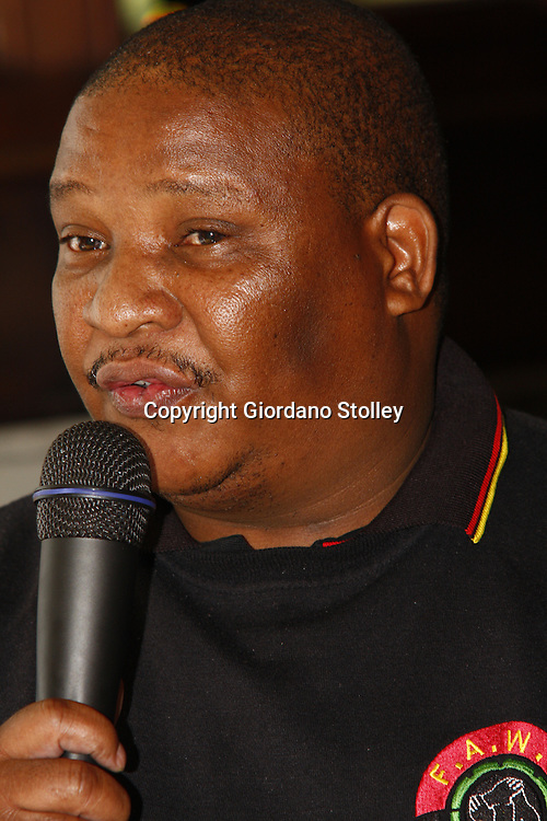 HEIDELBERG, GAUTENG - Food and Allied Workers' Union (Fawu) national general co-ordinator Phillip Mokwena urges National police minister Nathi Mthethwa, who was launching the government's much touted rural safety plan in Gauteng, to look at the plight of farm workers. He claimed many are abused by their employers. -- APP/Allied Picture Press