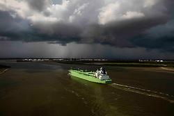 BW Leo oil tanker in ship channel at Port of Houston.