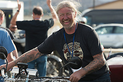 Frankfurt, Germany Harley-Davidson dealer Thomas Trapp, arrives at the finish on his 1916 Harley-Davidson F during stage 12 (299 m) of the Motorcycle Cannonball Cross-Country Endurance Run, which on this day ran from Springville, UT to Elko, NV, USA. Wednesday, September 17, 2014.  Photography ©2014 Michael Lichter.