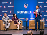 24 OCTOBER 2019 - DES MOINES, IOWA: Former Secretary of Housing and Urban Development JULIAN CASTRO speaks at the LULAC NewsMax TV Presidential Town Hall for Democratic candidates in Des Moines. Julián Castro, Beto O'Rourke, and Bernie Sanders addressed the crowd during the Town Hall, while Tulsi Gabbard appeared via a prerecorded video link. The co-moderators for the Town Hall were Newsmax TV's John Bachman and Spectrum News 1's Annette Garcia.                      PHOTO BY JACK KURTZ