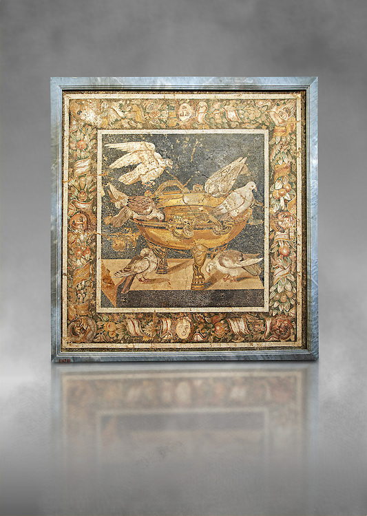 Roman mosaic of birds drinking from Pompeii,  Naples Archaeological Musum, Italy .<br /> <br /> If you prefer to buy from our ALAMY PHOTO LIBRARY  Collection visit : https://www.alamy.com/portfolio/paul-williams-funkystock/roman-mosaic.html - Type -   Naples    - into the LOWER SEARCH WITHIN GALLERY box. Refine search by adding background colour, place, museum etc<br /> <br /> Visit our ROMAN MOSAIC PHOTO COLLECTIONS for more photos to download  as wall art prints https://funkystock.photoshelter.com/gallery-collection/Roman-Mosaics-Art-Pictures-Images/C0000LcfNel7FpLI