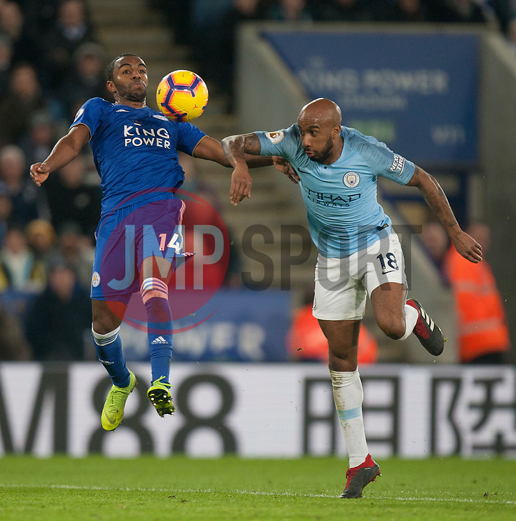 Ricardo Pereira of Leicester City (L) and Fabian Delph of Manchester City in action - Mandatory by-line: Jack Phillips/JMP - 26/12/2018 - FOOTBALL - King Power Stadium - Leicester, England - Leicester City v Manchester City - English Premier League