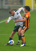 Hull City's George Honeyman battles with Plymouth Argyle's George Cooper<br /> <br /> Photographer Dave Howarth/CameraSport<br /> <br /> The EFL Sky Bet League One - Hull City v Plymouth Argyle - Saturday 3rd October 2020 - KCOM Stadium - Kingston upon Hull<br /> <br /> World Copyright © 2020 CameraSport. All rights reserved. 43 Linden Ave. Countesthorpe. Leicester. England. LE8 5PG - Tel: +44 (0) 116 277 4147 - admin@camerasport.com - www.camerasport.com