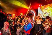 Glastonbury Festival, 2015. Shangri La is a festival of contemporary performing arts held each year within Glastonbury Festival. The theme for the 2015 Shangri La was Protest.  <br /> The last night of dancing on the Hell stage.