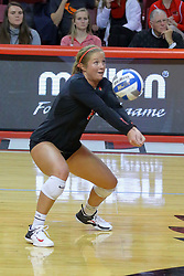 23 November 2017:  Courtney Pence digs during a college women's volleyball match between the Valparaiso Crusaders and the Illinois State Redbirds in the Missouri Valley Conference Tournament at Redbird Arena in Normal IL (Photo by Alan Look)