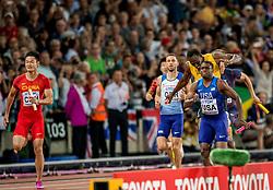 12-08-2017 IAAF World Championships Athletics day 9, London<br /> Bij de WK atletiek in Londen is op dramatische wijze een einde gekomen aan de loopbaan van Usain Bolt. De Jamaicaanse sprinter viel in zijn laatste race, de finale van de 4x100 meter, geblesseerd uit.