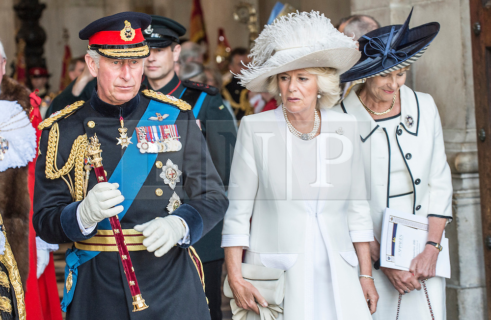 © London News Pictures. 18/06/2015. London, UK. His Royal Highness The Prince of Wales and Her Royal Highness the Duchess of Cornwall, leave St Paul's Cathedral following a service of commemoration to mark the 200th Anniversary of the Battle of Waterloo. Photo credit: Sergeant Rupert Frere/LNP