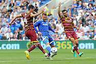 Cardiff City's Anthony Pilkington (c) is caught offside by QPR's Grant Hill (l) and Steven Caulker (r). EFL Skybet championship match, Cardiff city v Queens Park Rangers at the Cardiff city stadium in Cardiff, South Wales on Sunday 14th August 2016.<br /> pic by Carl Robertson, Andrew Orchard sports photography.