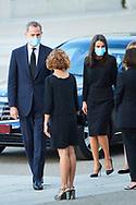 King Felipe VI of Spain, Queen Letizia of Spain, Crown Princess Leonor, Princess Sofia attend Covid-19 mass Funeral at La Almudena Cathedral on July 6, 2020 in Madrid, Spain