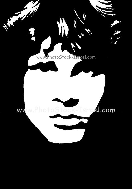 Black and white, hand drawn, picture of Jim Morrison lead singer and lyricist of The Doors. (December 8, 1943 - July 3, 1971)