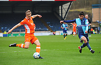 Blackpool's Brad Potts under pressure from Wycombe Wanderers' Joe Jacobson<br /> <br /> Photographer Kevin Barnes/CameraSport<br /> <br /> The EFL Sky Bet League Two - Wycombe Wanderers v Blackpool - Saturday 11th March 2017 - Adams Park - Wycombe<br /> <br /> World Copyright © 2017 CameraSport. All rights reserved. 43 Linden Ave. Countesthorpe. Leicester. England. LE8 5PG - Tel: +44 (0) 116 277 4147 - admin@camerasport.com - www.camerasport.com