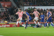 Joe Allen of Stoke City scores his teams 2nd goal. Premier league match, Stoke City v Leicester City at the Bet365 Stadium in Stoke on Trent, Staffs on Saturday 17th December 2016.<br /> pic by Chris Stading, Andrew Orchard sports photography.