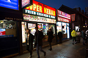 Kebab shop fast food restaurant on City Road in East London, UK.