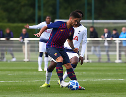 October 3, 2018 - London, England, United Kingdom - Enfield, UK. 03 October, 2018.Alvaro Sanz Catalan of FC Barcelona.during UEFA Youth League match between Tottenham Hotspur and FC Barcelona at Hotspur Way, Enfield. (Credit Image: © Action Foto Sport/NurPhoto/ZUMA Press)