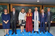 HHDL with Mr Thorbjorn Jagland, secretary general of Council of Europe, Ambassador Katrin Kivi, Jean Claude Frecon, Mr Guido Raimondi, president of the european court of human rights, Ms Gabriela Battaini-Dragoni