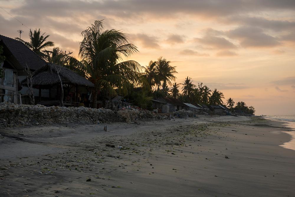 Nusa Penida, Indonesia - September 27, 2017: Sunset at the beach in Ped, Nusa Penida, Indonesia.