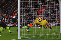 Football - 2018 / 2019 Premier League - Southampton vs. Manchester City<br /> <br /> Ederson Moraes of Manchester City makes a fine one handed save to deny Southampton's Charlie Austin at St Mary's Stadium Southampton<br /> <br /> COLORSPORT/SHAUN BOGGUST
