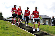 Gareth Bale of Wales ® arrives for the Wales football team training session at the Vale Resort, Hensol Castle near Cardiff ,South Wales on Monday 31st August  2015. The team are preparing for their next EURO 2016 qualifying match away to Cyprus later this week.<br /> pic by Andrew Orchard, Andrew Orchard sports photography.