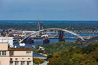bridges in construction Dniepr river skyline cityscape Landmark of Kiev Ukraine Europe