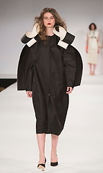 © Licensed to London News Pictures. 31/05/2015. London, UK. Collection by Naba Shan. Fashion show of UCA Epsom at Graduate Fashion Week 2015. Graduate Fashion Week takes place from 30 May to 2 June 2015 at the Old Truman Brewery, Brick Lane. Photo credit : Bettina Strenske/LNP