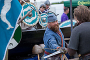 A viking re-enactment battle during the Suffolk Show on the 29th May 2019 in Ipswich in the United Kingdom. The Suffolk Show is an annual show that takes place in Trinity Park, Ipswich in the English county of Suffolk. It is organised by the Suffolk Agricultural Association.