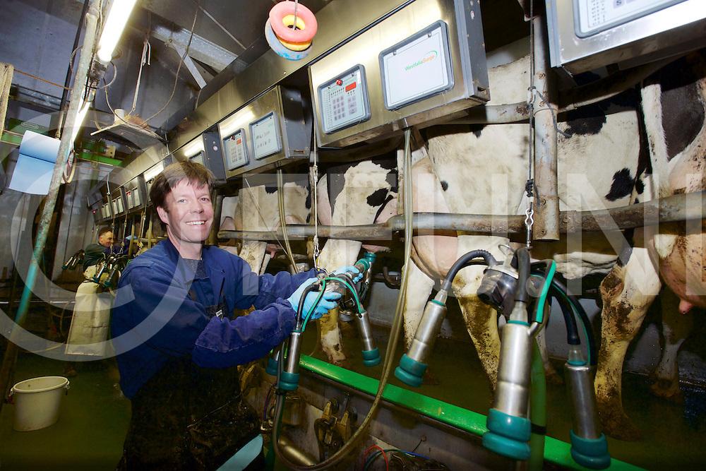 STEGEREN - burgemeester melkt.<br /> Foto: Burgemeester van Ommen, Marc Jan Ahne melkt de koeien bij Evert Kremer.<br /> FFU PRESS AGENCY COPYRIGHT FRANK UIJLENBROEK