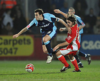 Tranmere Rovers Antony Kay and Andy Gallinagh of Cheltenham Town <br /> Cheltenham Town vs Tranmere Rovers<br /> Coca-Cola League One, Whaddon Road, Cheltenham<br /> 17/03/2009. Credit Colorsport/Dan Rowley