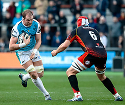 Alun Wyn Jones of Ospreys under pressure from Cory Hill of Dragons<br /> <br /> Photographer Simon King/Replay Images<br /> <br /> Guinness PRO14 Round 12 - Dragons v Ospreys - Sunday 30th December 2018 - Rodney Parade - Newport<br /> <br /> World Copyright © Replay Images . All rights reserved. info@replayimages.co.uk - http://replayimages.co.uk