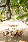 Guests dining area, Luwi Bush Camp, South Luangwa National Park. Zambia, Africa