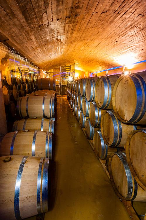 Barrels in wine cellar, Delaire Graff Wine Estate atop Helshoogte Pass, near Stellenbosch, Cape Winelands (near Cape Town), South Africa.