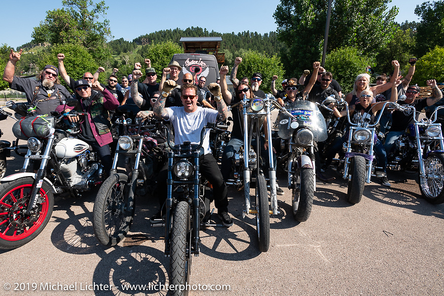 Bobby Seeger Jr front and center as Aidan's Ride prepares to leave from the Iron Horse Saloon during the Sturgis Black Hills Motorcycle Rally. Sturgis, SD, USA. Tuesday, August 6, 2019. Photography ©2019 Michael Lichter.