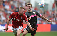 Bristol City's Taylor Moore clears from the chasing Leeds United's Patrick Bamford<br /> <br /> Photographer Ian Cook/CameraSport<br /> <br /> The EFL Sky Bet Championship - Bristol City v Leeds United - Sunday 4th August 2019 - Ashton Gate Stadium - Bristol<br /> <br /> World Copyright © 2019 CameraSport. All rights reserved. 43 Linden Ave. Countesthorpe. Leicester. England. LE8 5PG - Tel: +44 (0) 116 277 4147 - admin@camerasport.com - www.camerasport.com