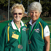 Peg Hoysted, Australia, (left) and Margaret Robinson, Australia, Runners up, 75 Womens doubles competition during the 2009 ITF Super-Seniors World Team and Individual Championships at Perth, Western Australia, between 2-15th November, 2009