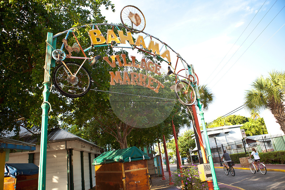 Sign marking the entry to the Bahama Village section of Key West, Florida.