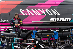 Lisa Brennauer (CANYON//SRAM Racing) warms up at Omloop van Borsele Time Trial 2016. A 19.9 km individual time trial starting and finishing in 's-Heerenhoek, Netherlands on 22nd April 2016.