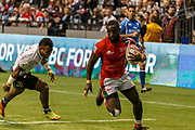 VANCOUVER, BC - MARCH 11: Samuel Oliech (#10) of Kenya scores with Jerry Tuwai (#9) of Fiji chasing during Game # 45- Cup Final Fiji vs Kenya Cup Final match at the Canada Sevens held March 11, 2018 in BC Place Stadium in Vancouver, BC. Final score: Fiji- 31, Kenya- 12. (Photo by Allan Hamilton/Icon Sportswire)