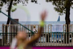 PORTOROZ, SLOVENIA - SEPTEMBER 15: A sailing boat and an athletes during the 2nd Round of WTA 250 Zavarovalnica Sava Portoroz at SRC Marina, on September 15, 2021 in Portoroz / Portorose, Slovenia. Photo by Matic Klansek Velej / Sportida