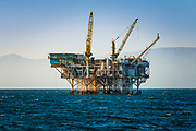 Off-shore oil platform in the Santa Barbara Channel, Ventura, California USA