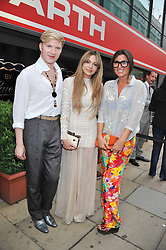 Left to right, HENRY CONWAY, ZARA MARTIN and GRACE WOODWARD at a party to launch the Gucci designed Fiat 500 customized by Gucci Creative Director Frida Giannini in collaboration with FIAT's Centro Stile, held at Fiat, 105 Wigmore Street, London on 27th June 2011.