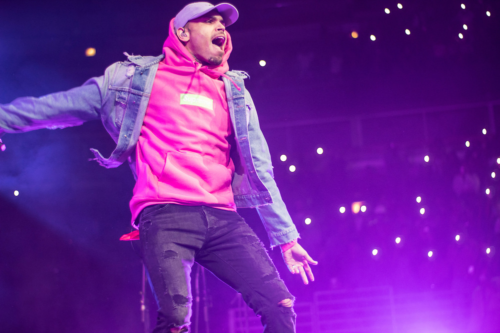 Chris Brown performing at WGCI Big Jam at Chicago's United Center on December 30, 2017.