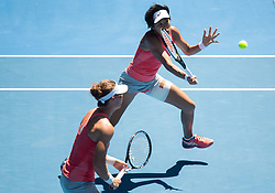 MELBOURNE, Jan. 21, 2019  Zhang Shuai of China (R) and Samantha Stosur of Australia compete during their women's doubles third round match against Alize Cornet of France and Petra Martic of Croatia at 2019 Australian Open in Melbourne, Australia, on Jan. 21, 2019. (Credit Image: © Elizabeth Xue Bai/Xinhua via ZUMA Wire)