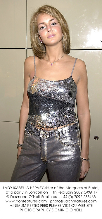 LADY ISABELLA HERVEY sister of the Marquess of Bristol, at a party in London on 11th February 2002.	OXG 17