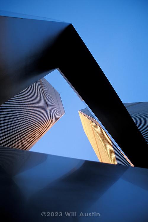 World Trade Center looking through the Ideogram sculpture by James Rosati, Manhattan, New York City, New York, USA.