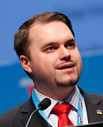 30.04.2016, Messe, Stuttgart, GER, 5. Bundesparteitag der AfD, im Bild Julian Flak Beisitzer im Bundesvorstand // during the 5th party convention of the Alternative for Germany (AfD) at the Messe in Stuttgart, Germany on 2016/04/30. EXPA Pictures © 2016, PhotoCredit: EXPA/ Sammy Minkoff<br /> <br /> *****ATTENTION - OUT of GER*****