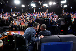 President Barack Obama participates in an interview with Jimmy Kimmel during a taping of Jimmy Kimmel Live! in Los Angeles, Calif., March 12, 2015. (Official White House Photo by Pete Souza)<br /> <br /> This official White House photograph is being made available only for publication by news organizations and/or for personal use printing by the subject(s) of the photograph. The photograph may not be manipulated in any way and may not be used in commercial or political materials, advertisements, emails, products, promotions that in any way suggests approval or endorsement of the President, the First Family, or the White House.