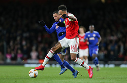 Pierre-Emerick Aubameyang of Arsenal and Omar Elabdellaoui of Olympiacos tussle for the ball - Mandatory by-line: Arron Gent/JMP - 27/02/2020 - FOOTBALL - Emirates Stadium - London, England - Arsenal v Olympiacos - UEFA Europa League Round of 32 second leg