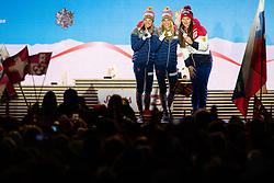 February 23, 2019 - Seefeld In Tirol, AUSTRIA - 190223 Silver medalist Ingvild Flugstad Østberg of Norway, gold medalist Therese Johaug of Norway and bronze medalist Natalia Nepryaeva of Russia at the medal ceremony for women's cross country skiing skiathlon during the FIS Nordic World Ski Championships on February 23, 2019 in Seefeld in Tirol..Photo: Joel Marklund / BILDBYRÃ…N / kod JM / 87887 (Credit Image: © Joel Marklund/Bildbyran via ZUMA Press)