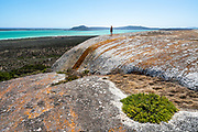 Stunning views over Langebaan Lagoon in the West Coast National Park on the West Coast of Africa. The crags were quite surreal and quite beautiful, sculptural even. I rarely photograph people but in this case using Jani in the shot really did help with a sense of scale.