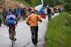Simon Spilak  (SLO) of Lampre - N.G.C. and Fans at  uphill to Krvavec at 3rd stage of Tour de Slovenie 2009 from Lenart to Krvavec, 175 km, on June 20 2009, Slovenia. (Photo by Vid Ponikvar / Sportida)